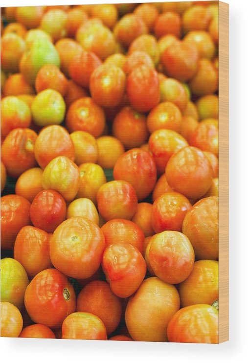 Retail Wood Print featuring the photograph Close-Up Of Tomatoes For Sale by Eskay Lim / EyeEm