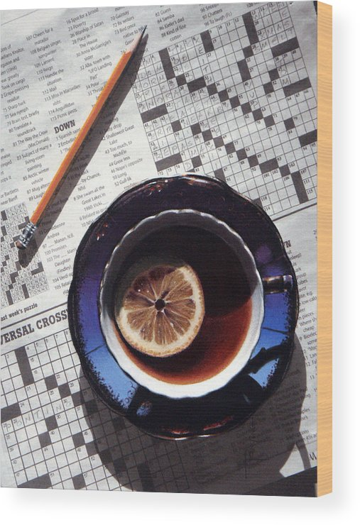 Still Life Wood Print featuring the painting Crossword by Dianna Ponting
