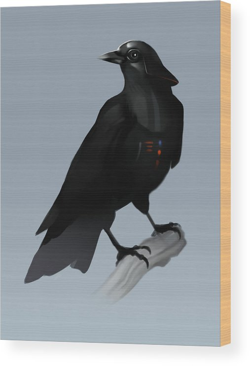 Birds Wood Print featuring the digital art Crow Vader by Michael Myers