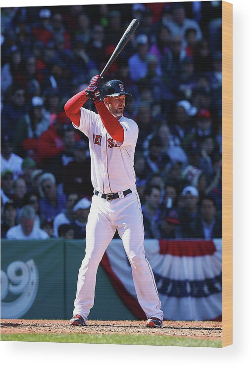 American League Baseball Wood Print featuring the photograph David Ross by Jared Wickerham