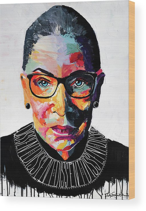 Portrait Wood Print featuring the painting Dissent by LA Smith
