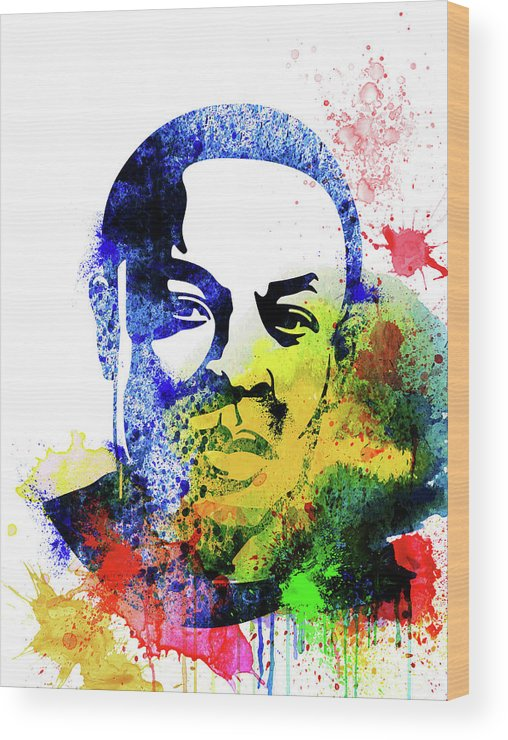 Dr. Dre Wood Print featuring the mixed media Dr. Dre Watercolor by Naxart Studio