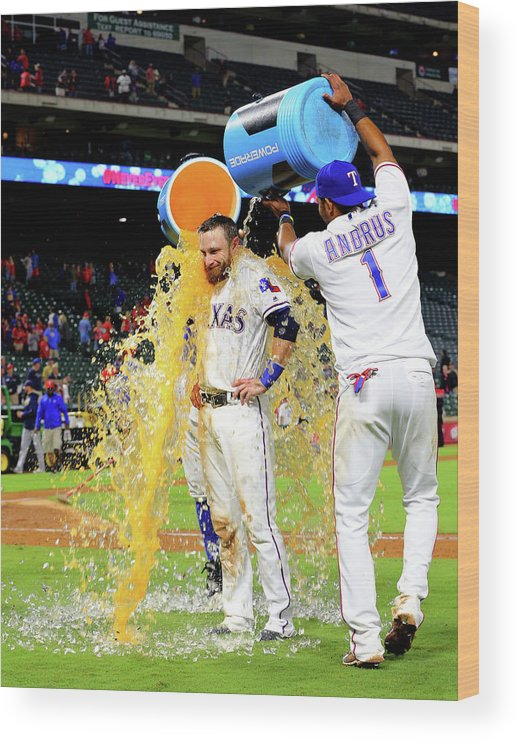People Wood Print featuring the photograph Elvis Andrus and Jonathan Lucroy by Rick Yeatts