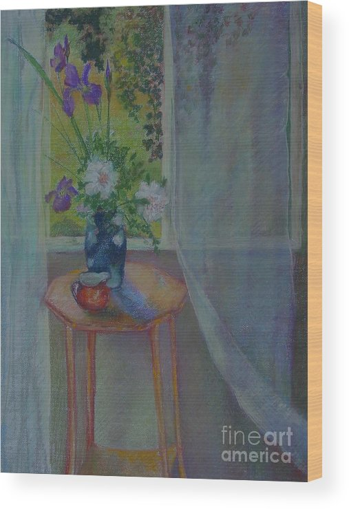 Floral Wood Print featuring the painting Evening Peonies and Iris    copyrighted by Kathleen Hoekstra