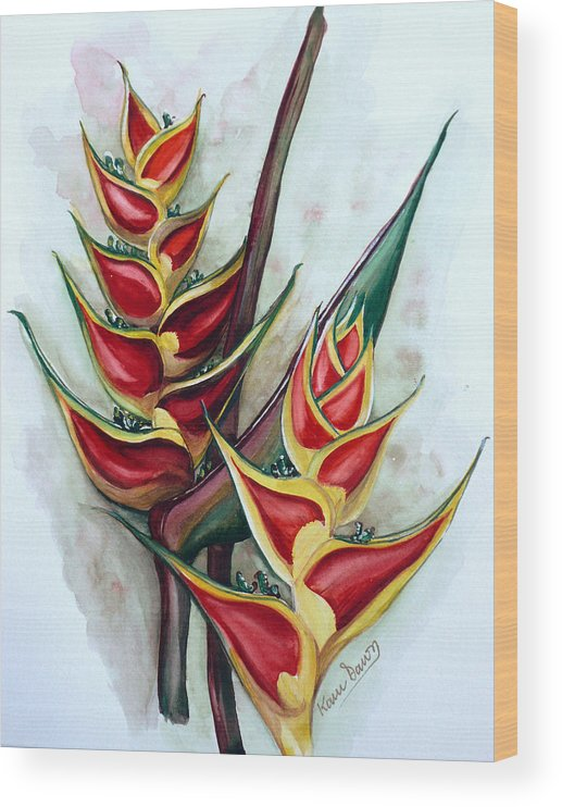 Caribbean Painting Flower Painting Floral Painting Heliconia Painting Original Watercolor Painting Of Heliconia Bloom  Trinidad And Tobago Painting Botanical Painting Wood Print featuring the painting Heliconia Tropicana Trinidad by Karin Dawn Kelshall- Best