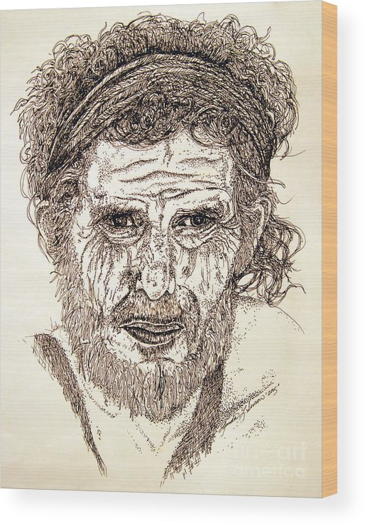 Man Wood Print featuring the drawing Hobo by Linda Simon