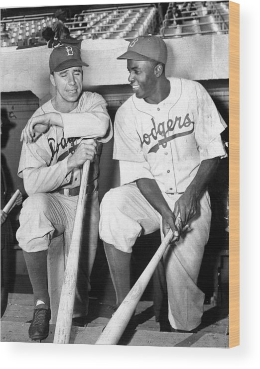 American League Baseball Wood Print featuring the photograph Jackie Robinson and Pee Wee Reese by New York Daily News Archive