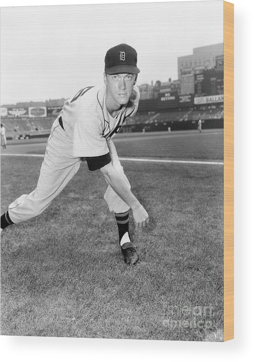 American League Baseball Wood Print featuring the photograph Jim York by Kidwiler Collection