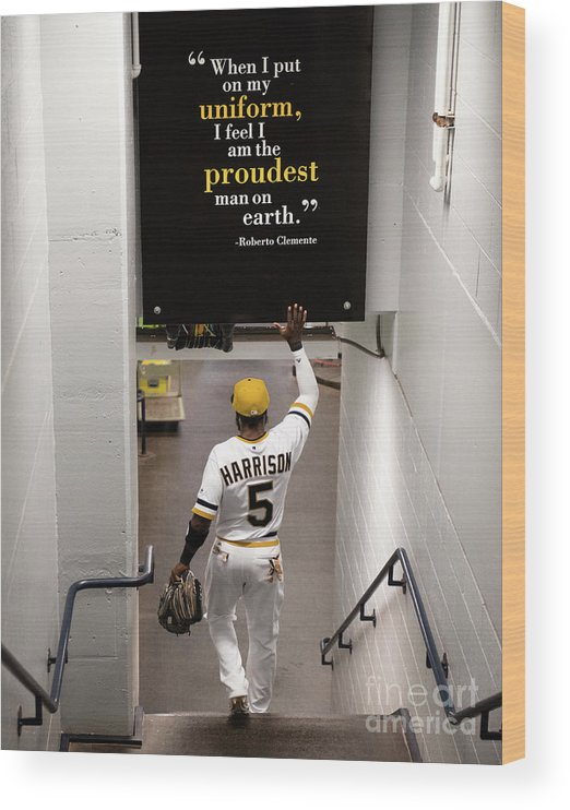 People Wood Print featuring the photograph Josh Harrison and Roberto Clemente by Justin Berl