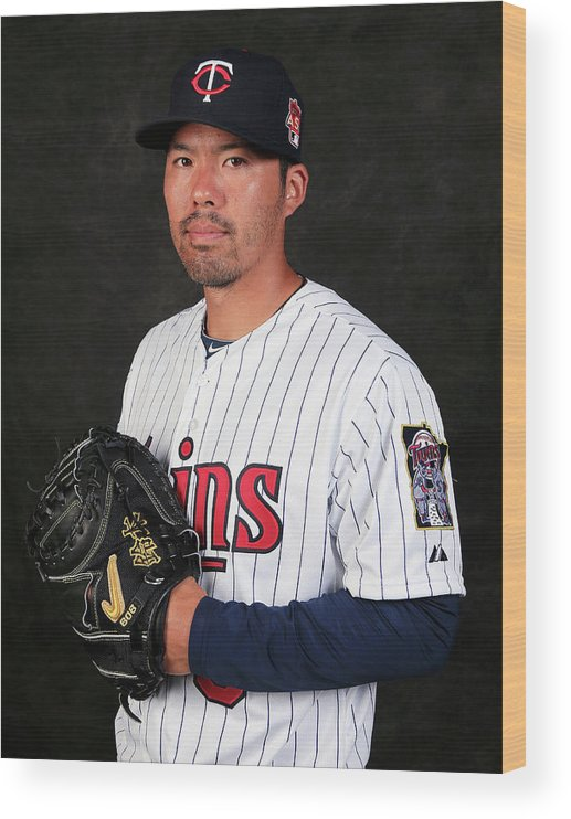 Media Day Wood Print featuring the photograph Kurt Suzuki by Rob Carr