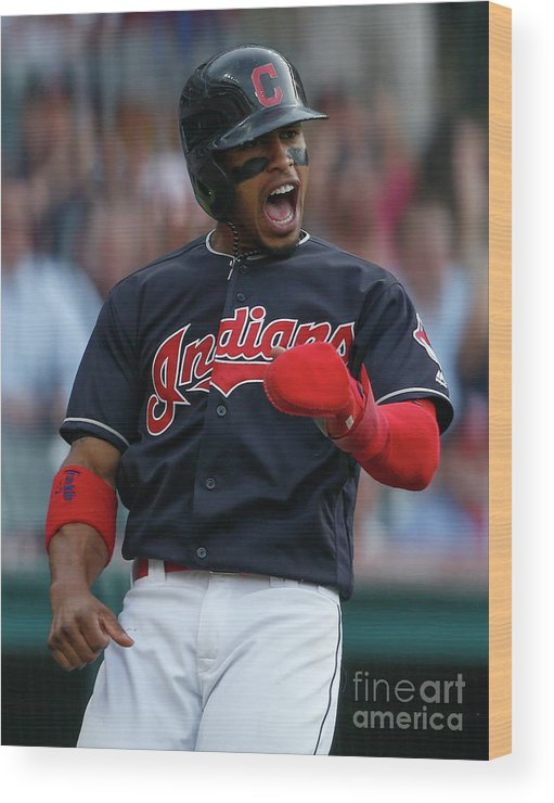 Three Quarter Length Wood Print featuring the photograph Michael Brantley and Francisco Lindor by Ron Schwane