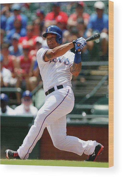American League Baseball Wood Print featuring the photograph Michael Choice by Tom Pennington