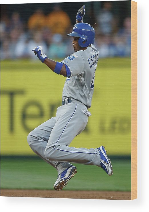 People Wood Print featuring the photograph Mike Moustakas and Alcides Escobar by Otto Greule Jr
