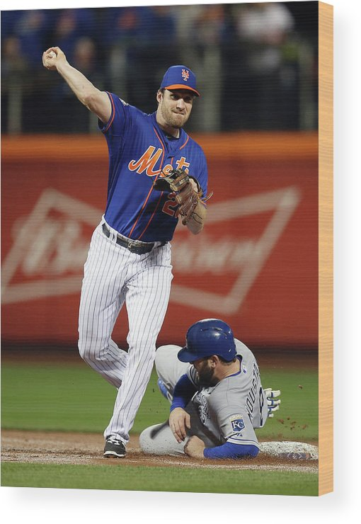 Playoffs Wood Print featuring the photograph Mike Moustakas and Daniel Murphy by Brad Mangin