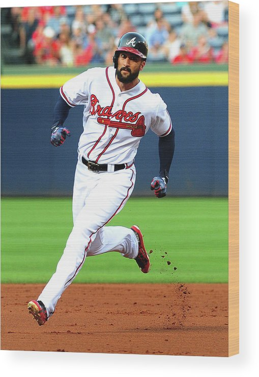 Atlanta Wood Print featuring the photograph Nick Markakis by Scott Cunningham