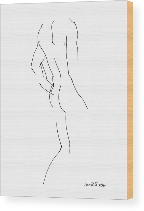 Male Wood Print featuring the drawing Nude Male Drawings 2 by Gordon Punt