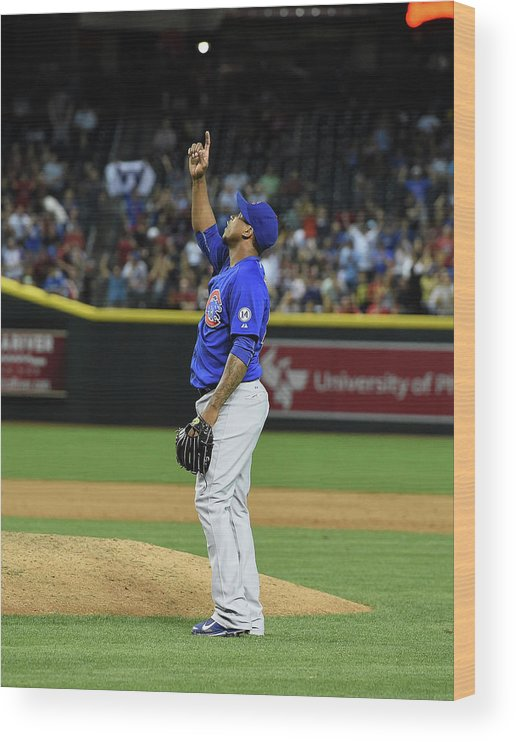 American League Baseball Wood Print featuring the photograph Pedro Strop by Norm Hall