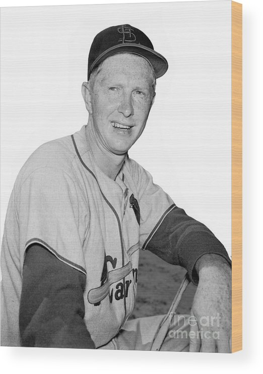 St. Louis Cardinals Wood Print featuring the photograph Red Schoendienst by Kidwiler Collection