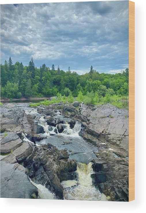 Waterfall River Trees Forrest Rocks Outdoors Minnesota Jay Cooke State Park Wood Print featuring the photograph St. Louis River by Katie Stavos