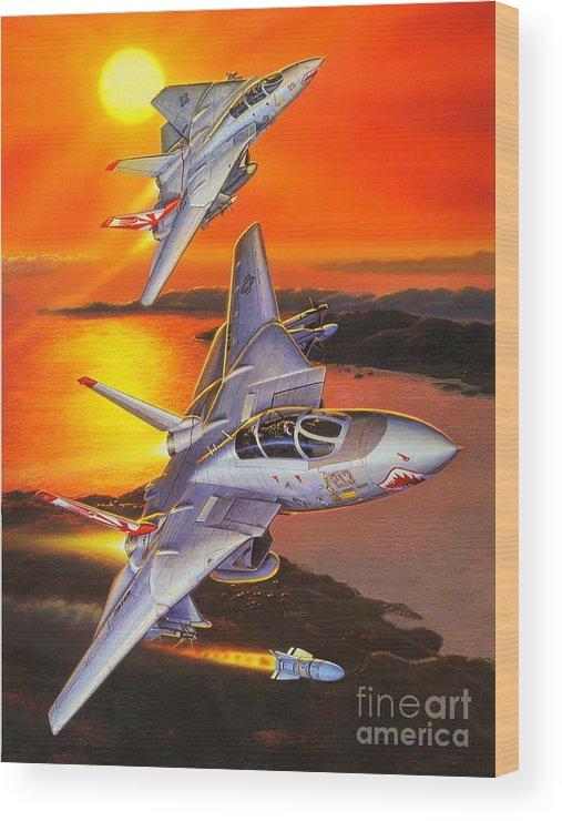 F-14 Tomcat Wood Print featuring the painting Sundowner Tomcats by Stu Shepherd