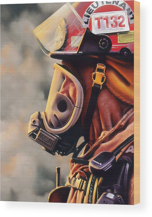 Fireman Wood Print featuring the pastel T-132 by Dianna Ponting