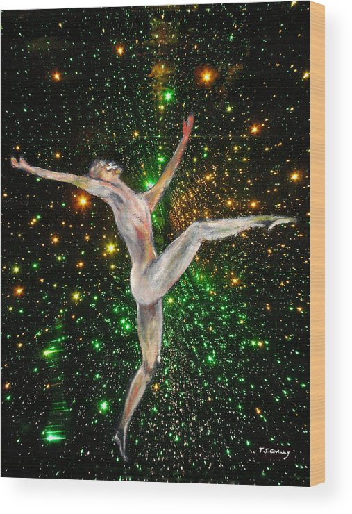 Dance Wood Print featuring the painting The Light Fantastic Dance and Stars by Tom Conway
