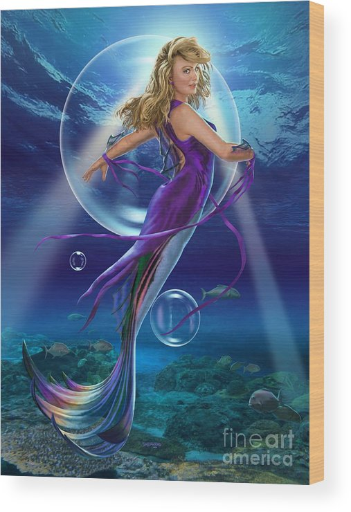 Mermaid Wood Print featuring the digital art The SeaDancer by Stu Shepherd