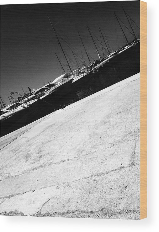Outdoors Wood Print featuring the photograph Tilt Image Of Boats Moored At Harbor Against Sky by Frank Swertz / EyeEm