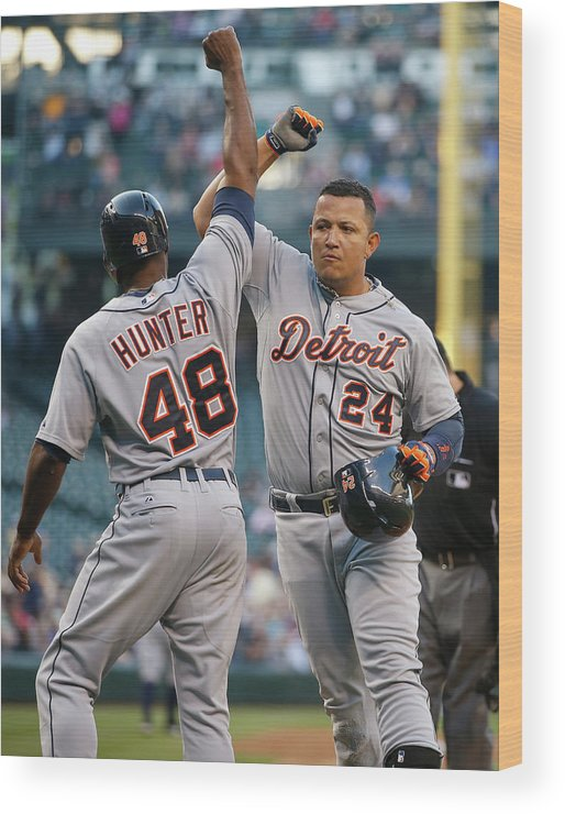 American League Baseball Wood Print featuring the photograph Torii Hunter and Miguel Cabrera by Otto Greule Jr