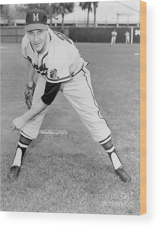1950-1959 Wood Print featuring the photograph Warren Spahn by National Baseball Hall Of Fame Library