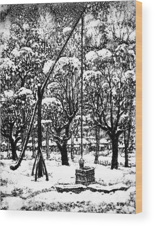 Winter Wood Print featuring the drawing Winter Landscape by Iliyan Bozhanov