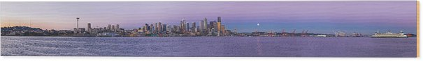 Seattle Wood Print featuring the photograph Seattle Skyline Panorama - Massive by Scott Campbell
