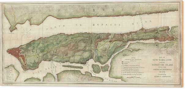 1878 Bien and Johnson Map of New York City Manhattan Island During the Revolutionary War by Paul Fearn