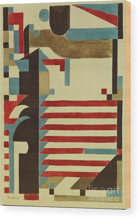 Art Deco Abstract Wood Print featuring the painting Art Deco by Dayanne Dilton
