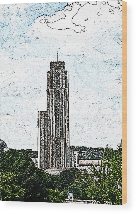 Cityscape Wood Print featuring the photograph Cathederal Of Learning Artistic Brush by G L Sarti