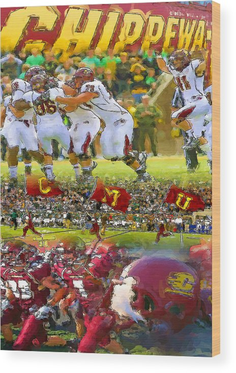 Central Michigan University Wood Print featuring the painting Central Michigan Football Collage by John Farr