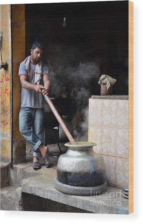 Breakfast Wood Print featuring the photograph Cooking Breakfast Early Morning Lahore Pakistan by Imran Ahmed