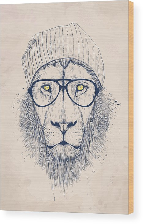 Lion Wood Print featuring the digital art Cool Lion by Balazs Solti