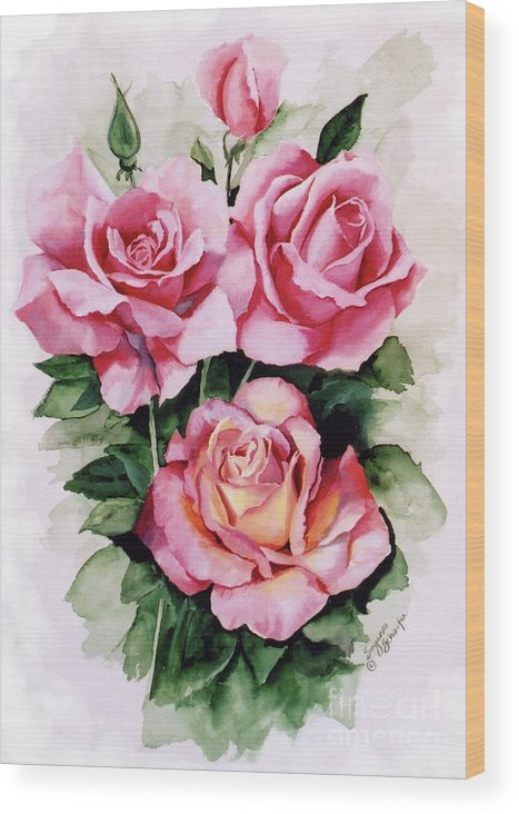 Roses Wood Print featuring the painting Dainty Ladies by Suzanne Schaefer
