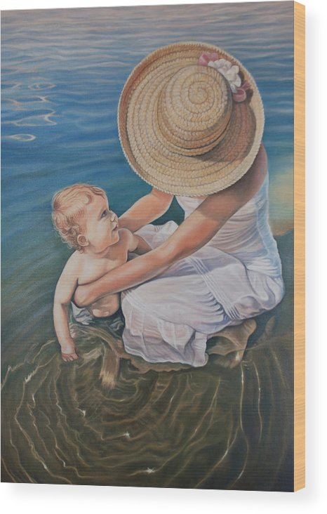 Realistic Wood Print featuring the painting Encircled By Love by Holly Kallie