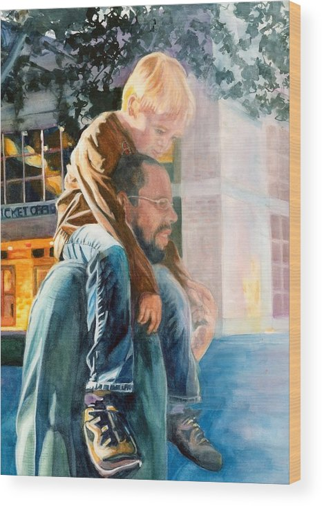 Watercolour Paintings Wood Print featuring the painting Father And Son In Morning Mist by Maureen Dean