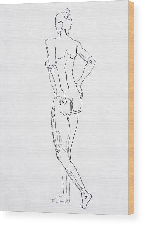 Woman Wood Print featuring the drawing Figure Drawing Study I by Irina Sztukowski