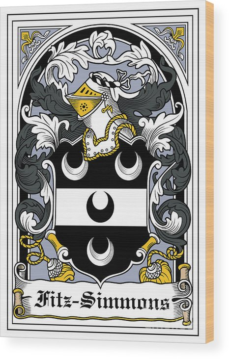 Fitz-simmons Wood Print featuring the digital art Fitzsimmons Coat Of Arms Irish by Heraldry