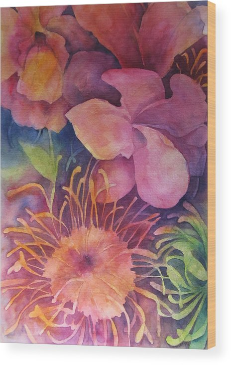 Mums Wood Print featuring the painting Floral Bouquet by Sherri Snyder