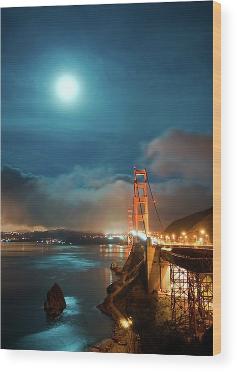 Goldengate Wood Print featuring the photograph Full Moon And Fog Over The Golden Gate Bridge by Michael Ayers