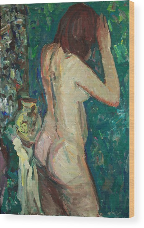 Nude Wood Print featuring the painting Hid Herself by Juliya Zhukova
