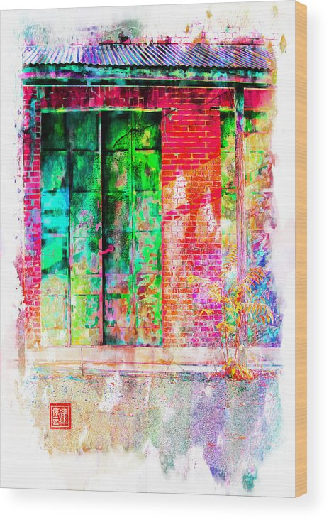 Chinese Camp Wood Print featuring the digital art Iron Doors II by Ken Evans