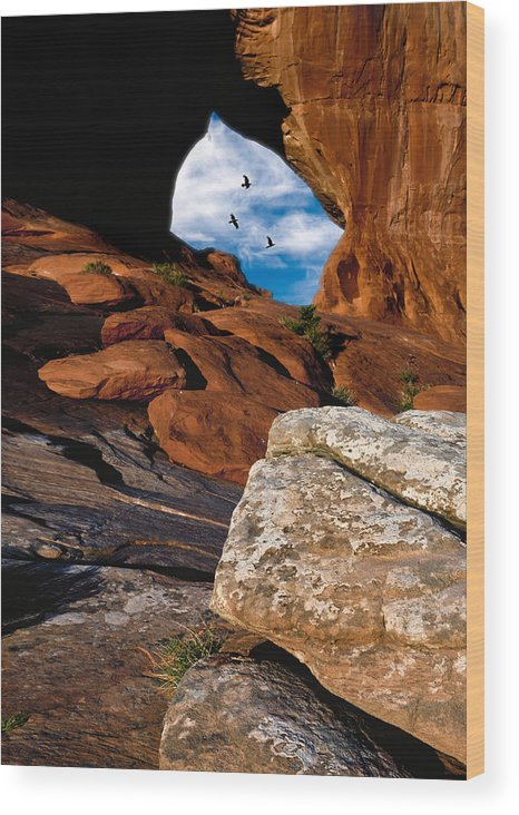 Arches Wood Print featuring the photograph Looking Glass Raven Sky by Gary Warnimont