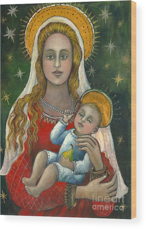 Christian Icon Wood Print featuring the painting Madonna With Baby Jesus by Vera Zales