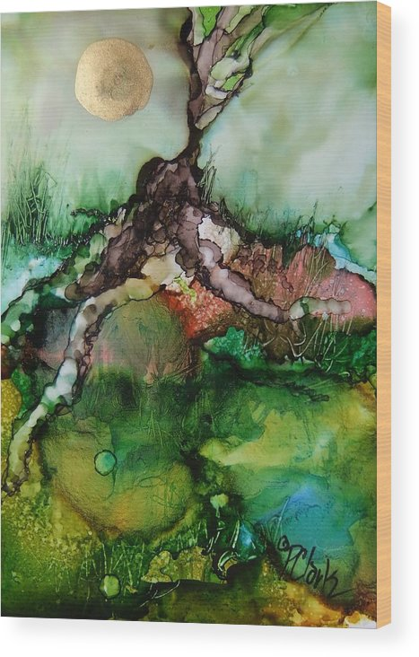 Yupo Wood Print featuring the painting Roots by Donna Pierce-Clark